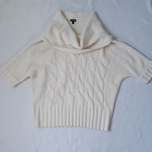 Express Cream Cable Chunky Knit Cowl Neck Sz L